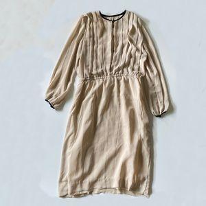 Vintage 80s Victor Costa Cream Long Sleeve Dress L